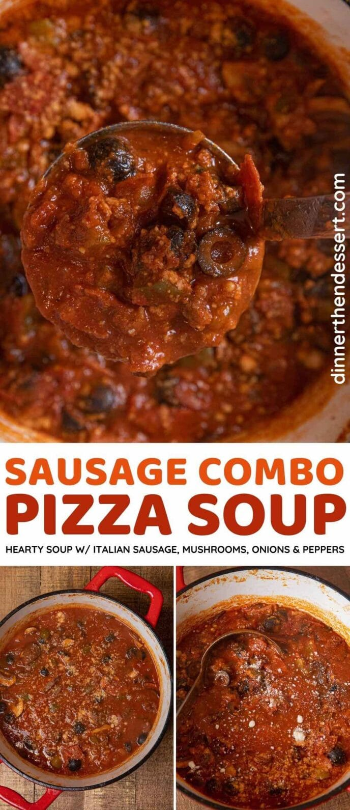 Sausage Combo Pizza Soup collage