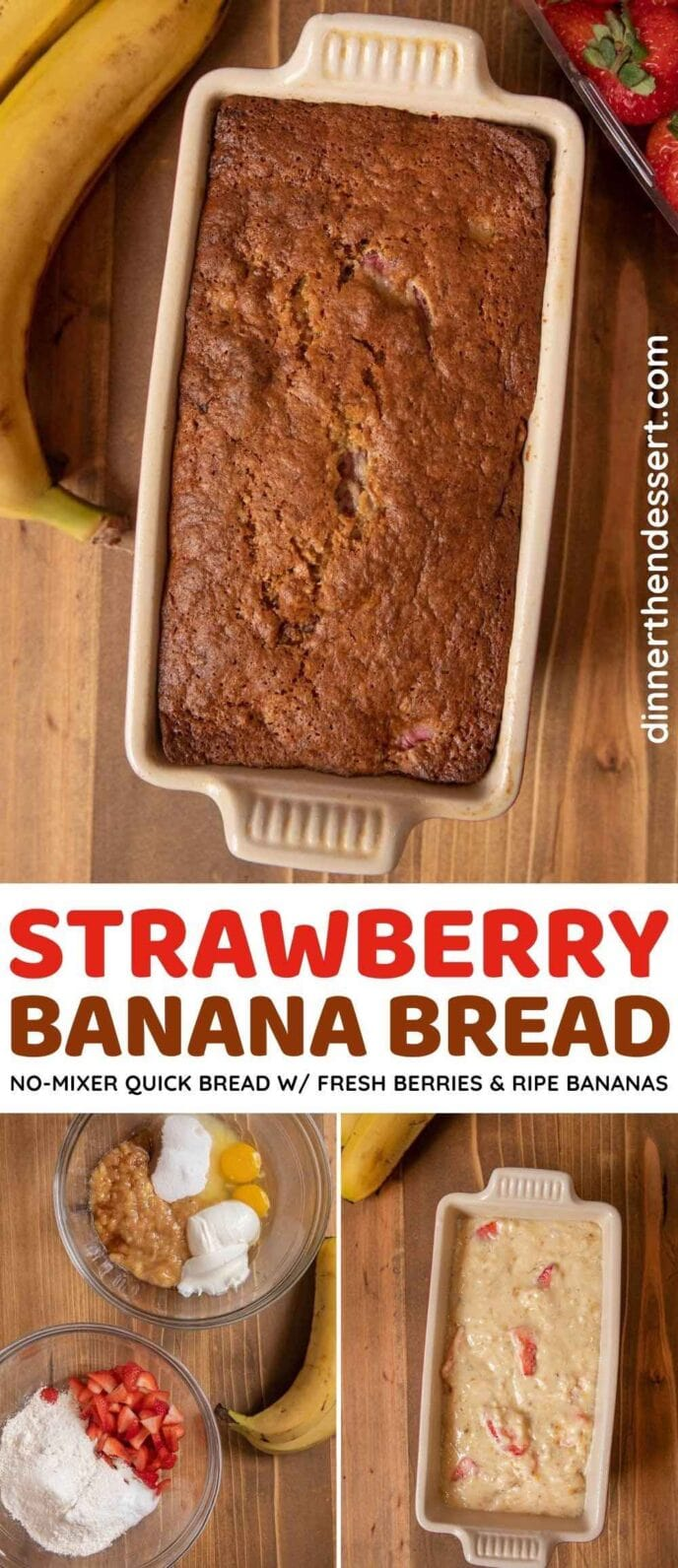 Moist Strawberry Banana Bread