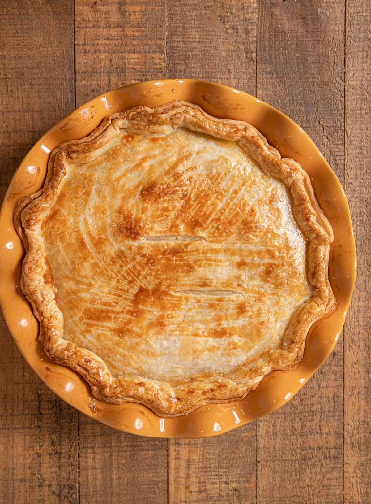 Turkey Pot Pie baked in pie plate