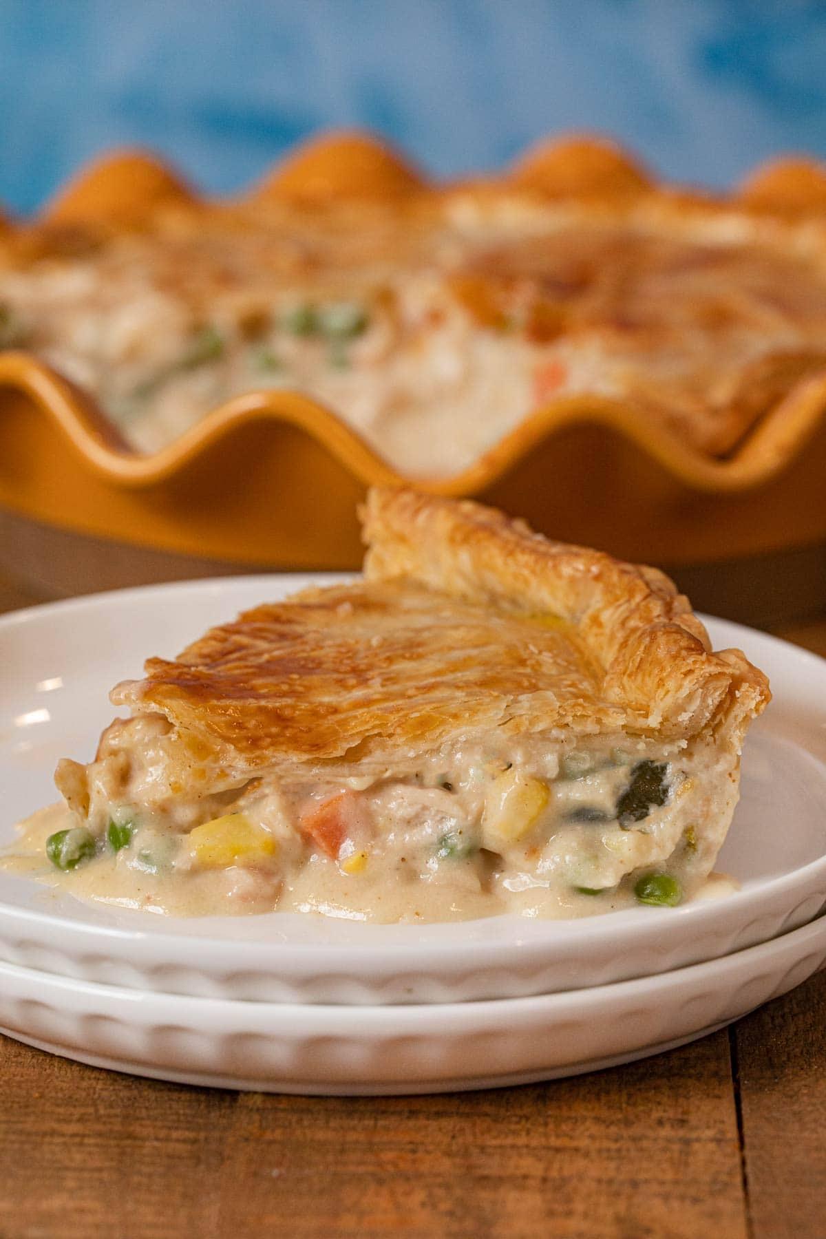 Turkey Pot Pie slice on plate