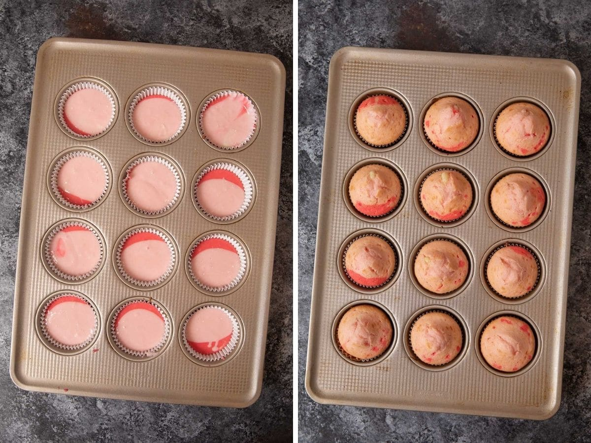 Valentines Cupcakes in muffin tin before and after baking