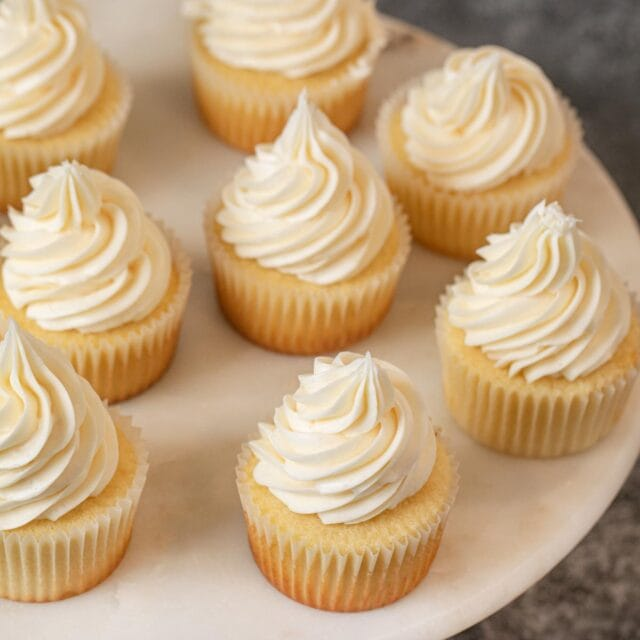 top-down view of Vanilla Cupcakes on cake stand