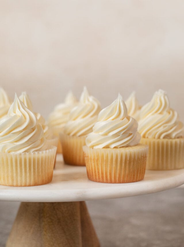 Vanilla Cupcakes on cake stand
