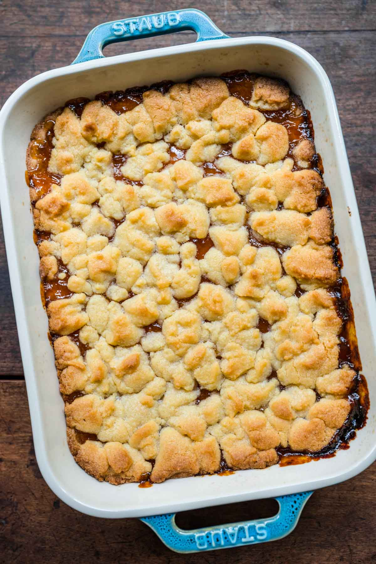 Apricot Shortbread Bars after baking in baking dish