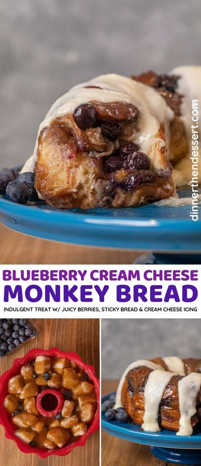Blueberry Cream Cheese Monkey Bread collage