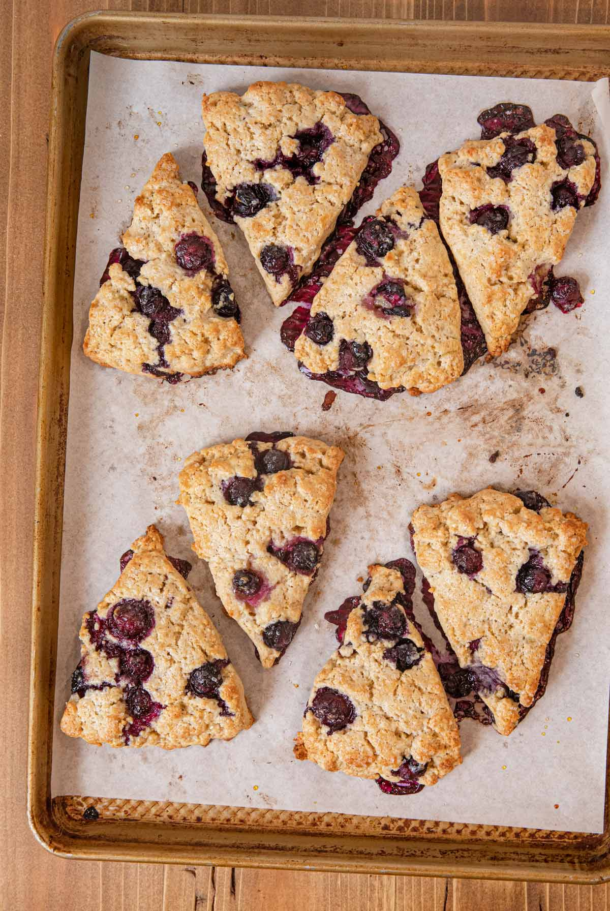 Blueberry Scones on cookie sheet