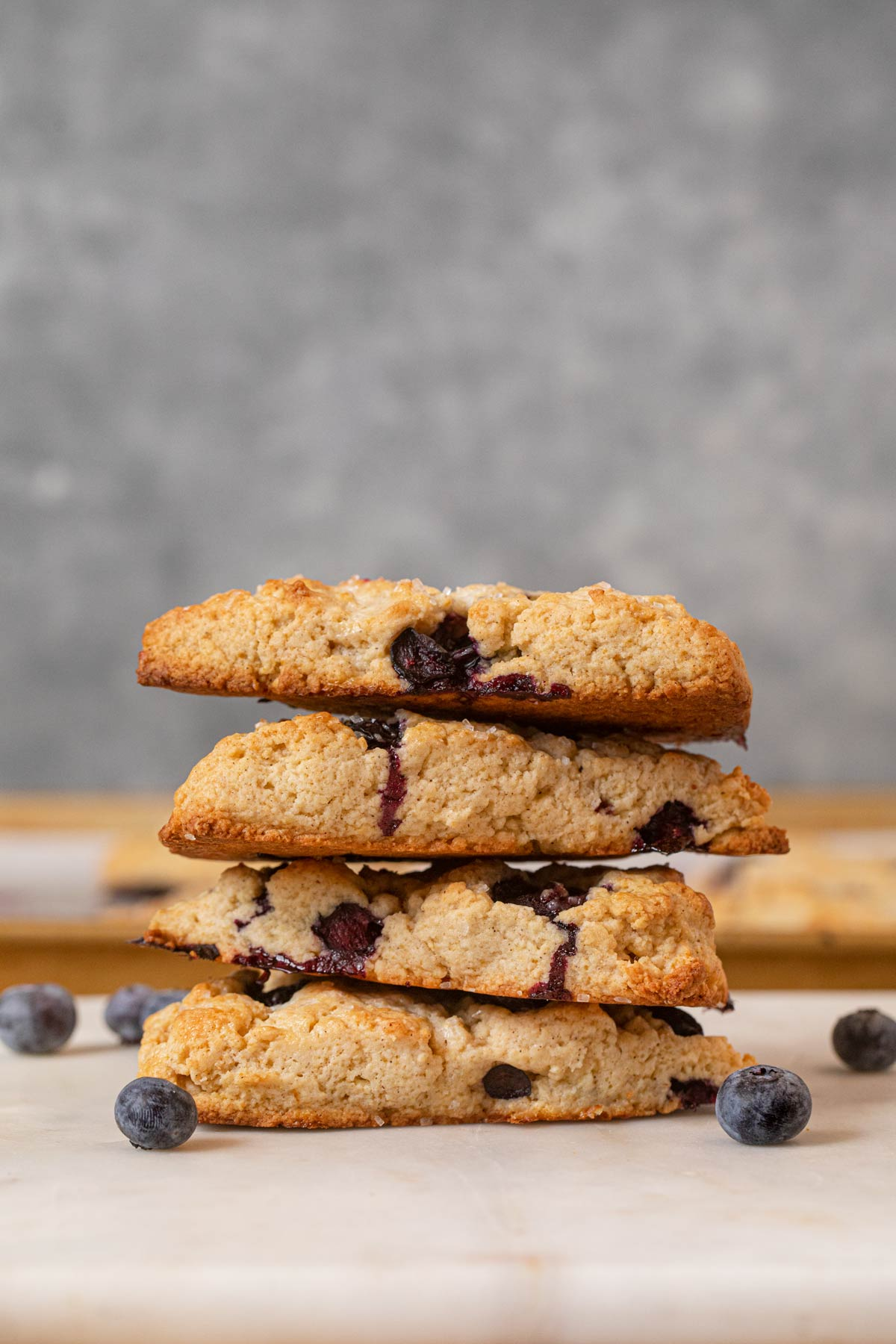 Blueberry Scones in stack