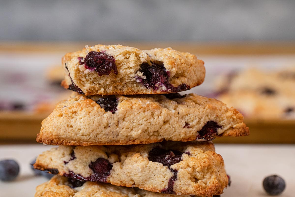 close-up of Blueberry Scones in stack
