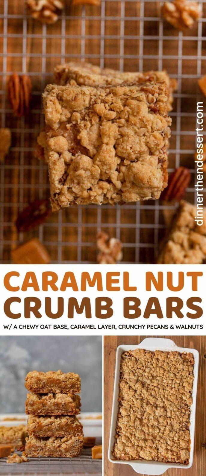 Caramel Nut Crumb Bars collage