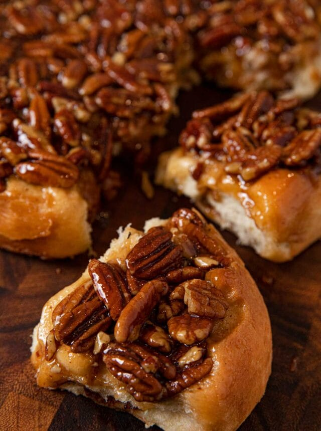close-up of Caramel Pecan Cinnamon Roll