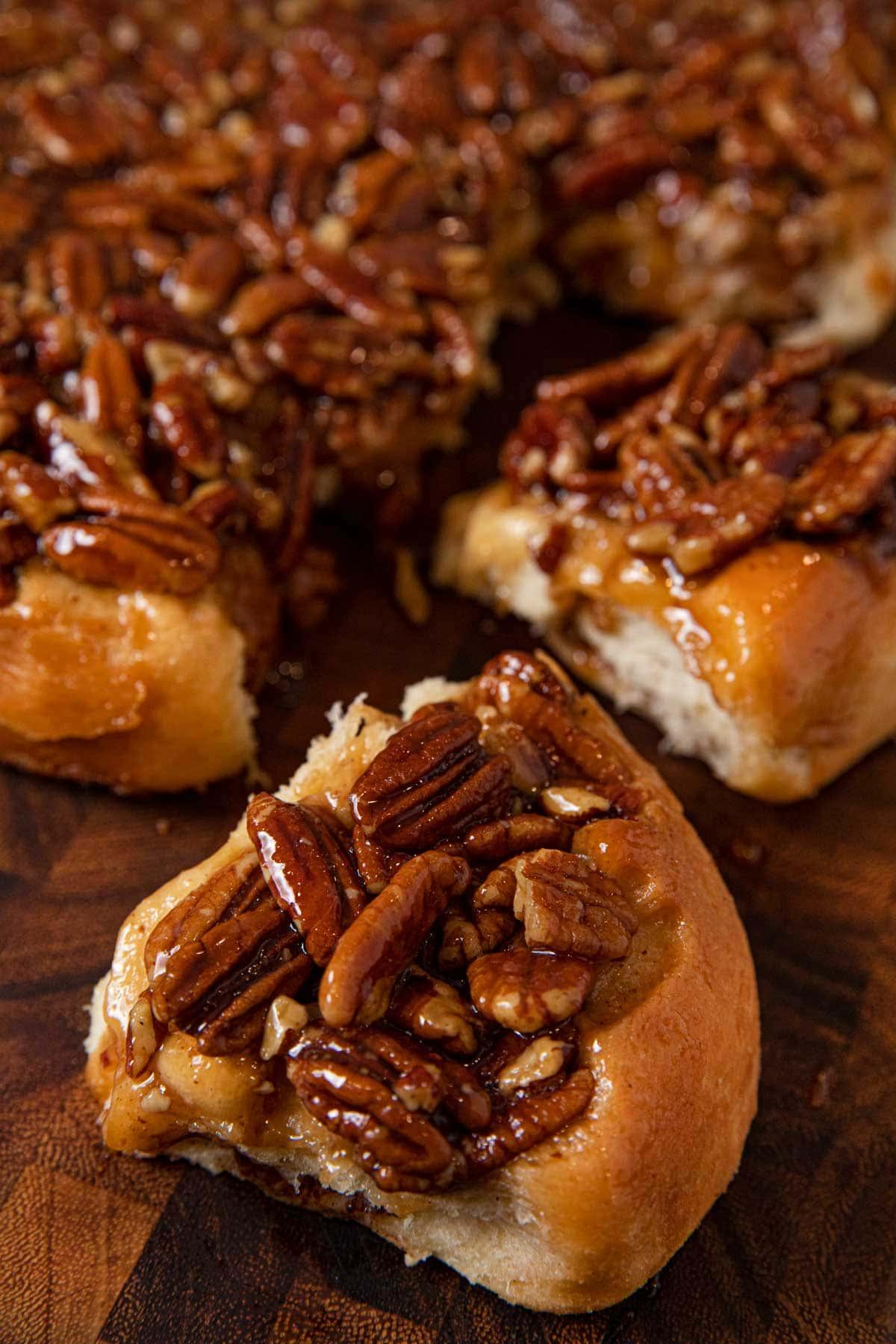 close-up of Caramel Pecan Cinnamon Roll