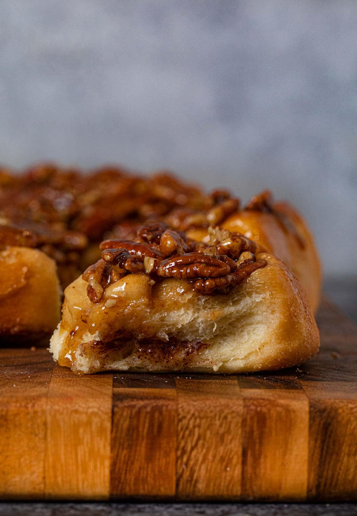 side view of Caramel Pecan Cinnamon Roll