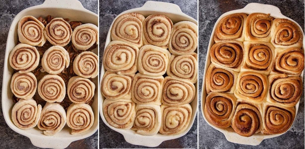 Caramel Pecan Cinnamon Rolls collage of prep steps