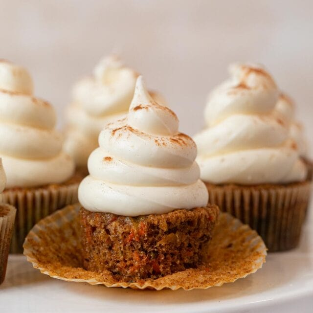 Carrot Cupcakes on cake stand
