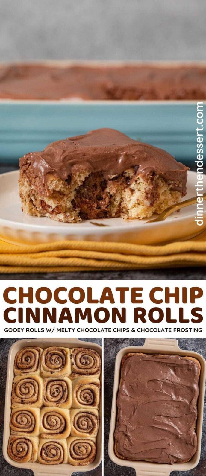Chocolate Chip Cinnamon Rolls pinterest collage