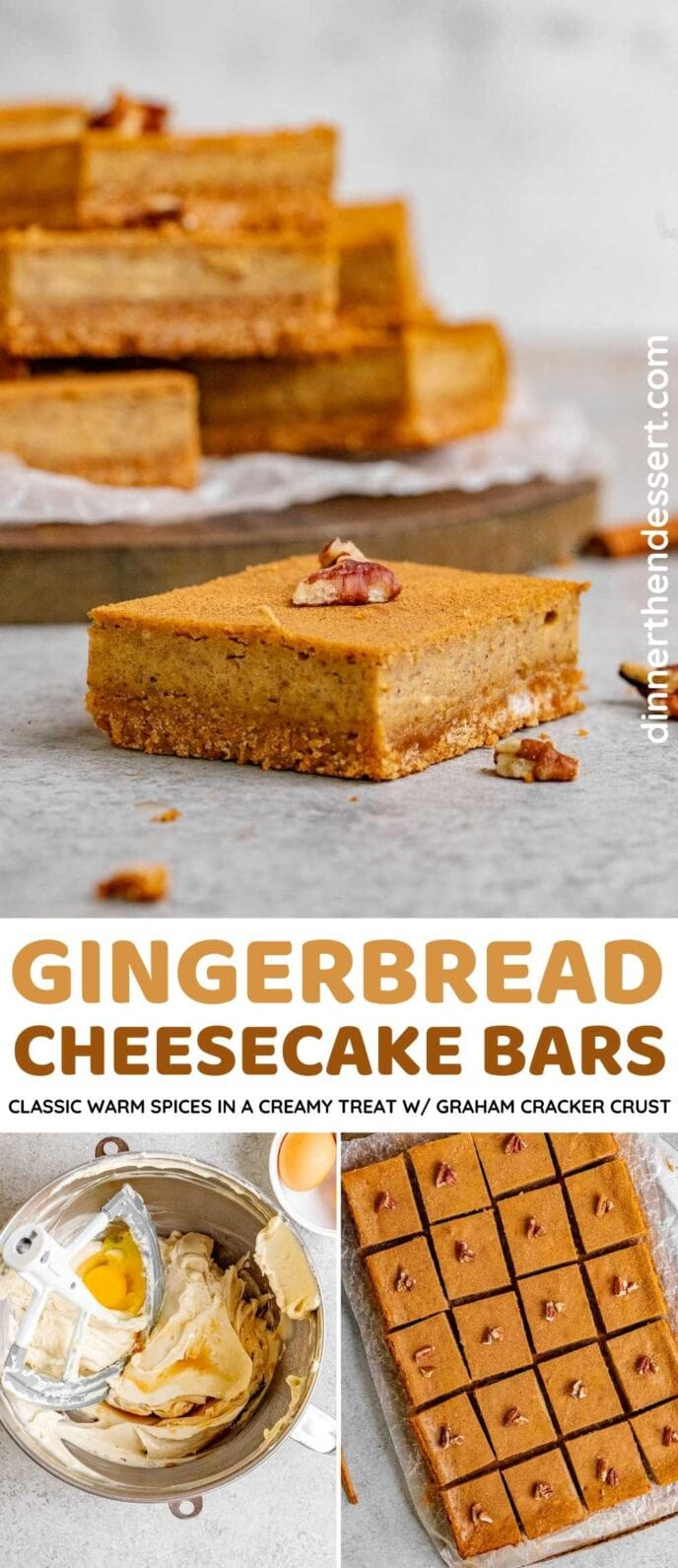Gingerbread Cheesecake Bars Collage