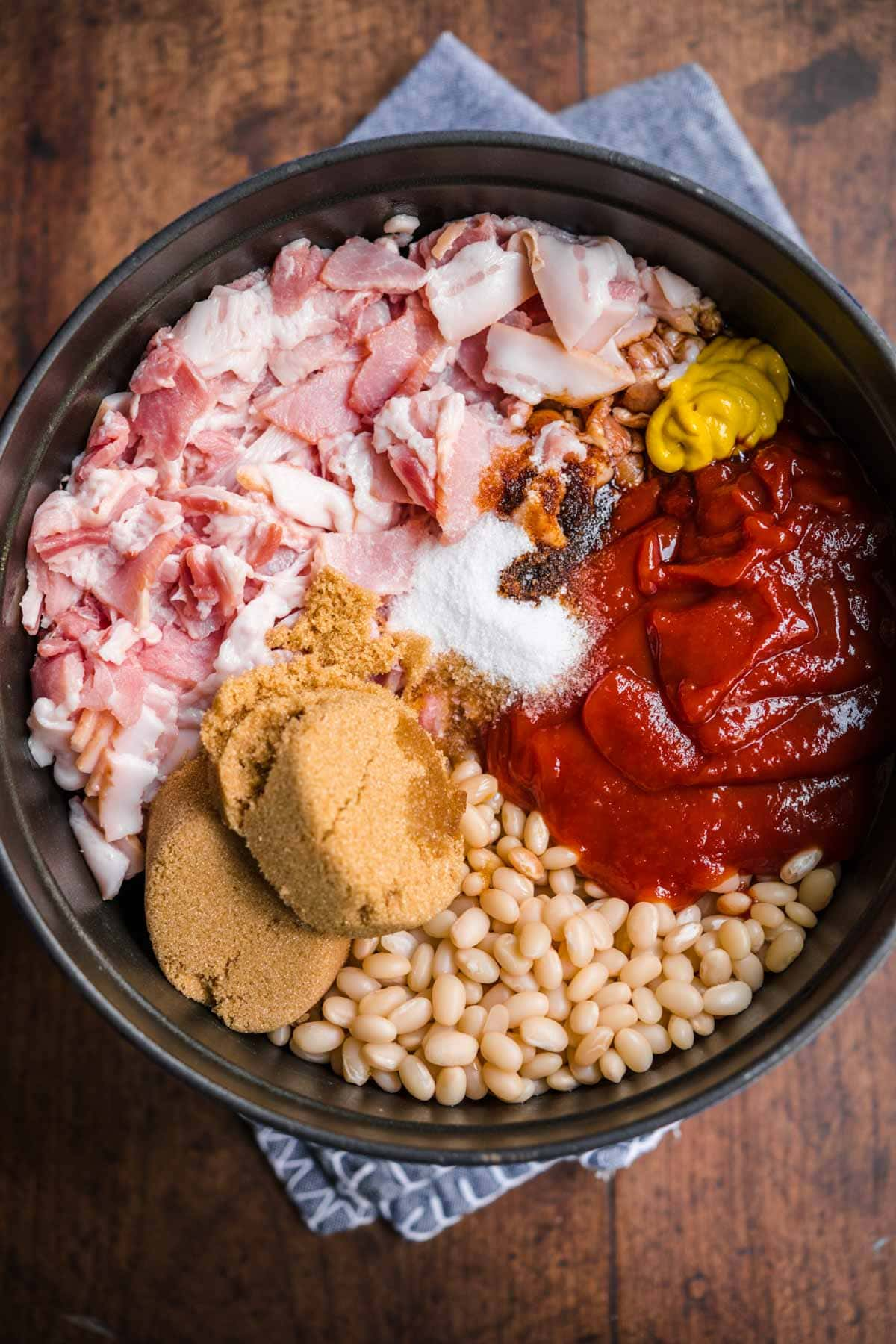 Homemade Pork and Beans ingredients in pot