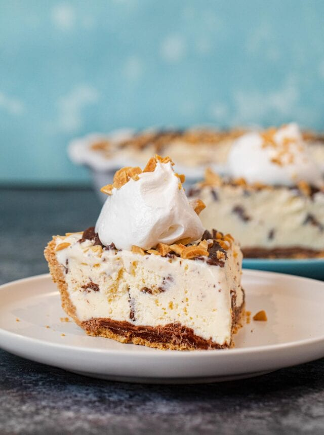 Slice of Ice Cream Sundae Pie on plate