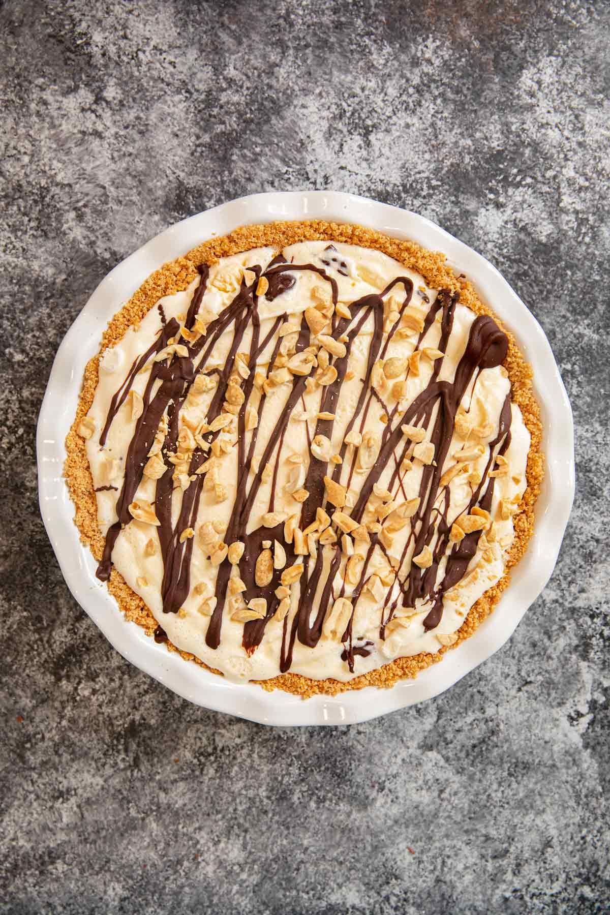 Ice Cream Sundae Pie in pie plate