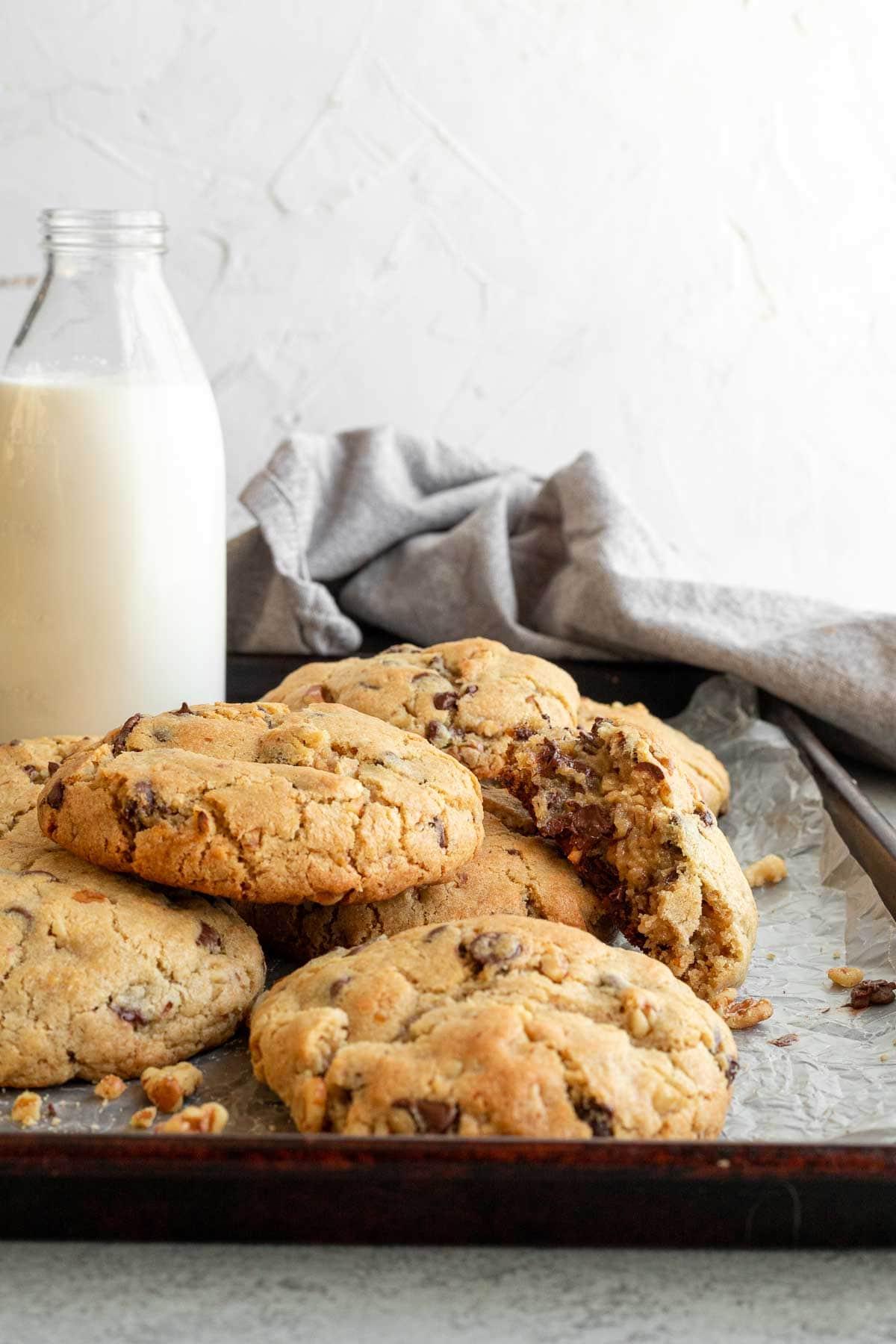Levain Chocolate Chip Cookies on baking sheet