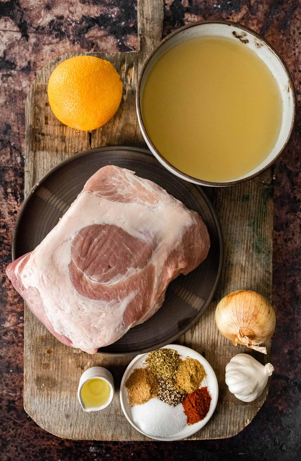 Ingredients for Pork Carnitas (Oven) in prep bowls