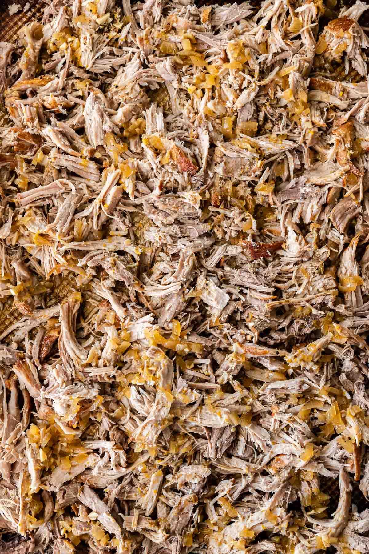 Close up of shredded Pork Carnitas (Oven)