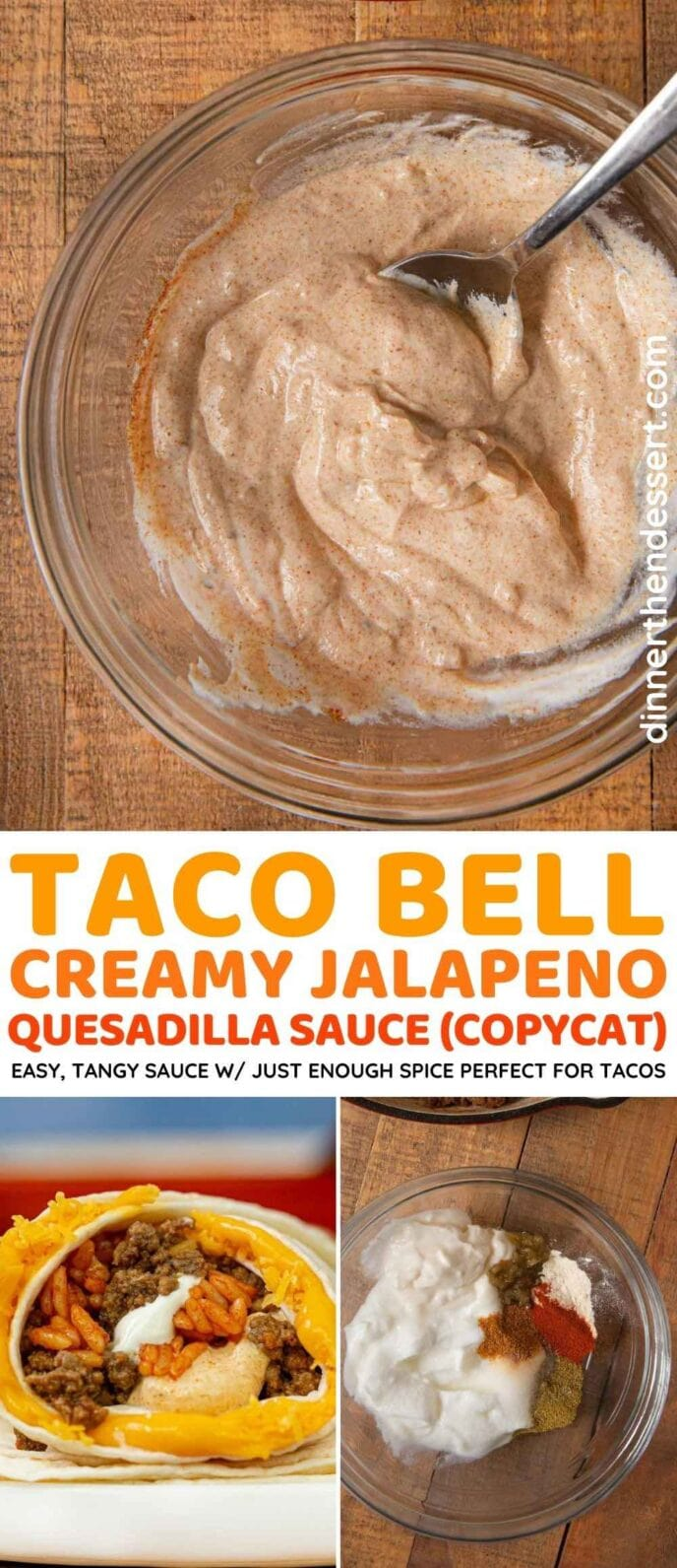 Taco Bell Creamy Jalapeno Quesadilla Sauce (Copycat) collage