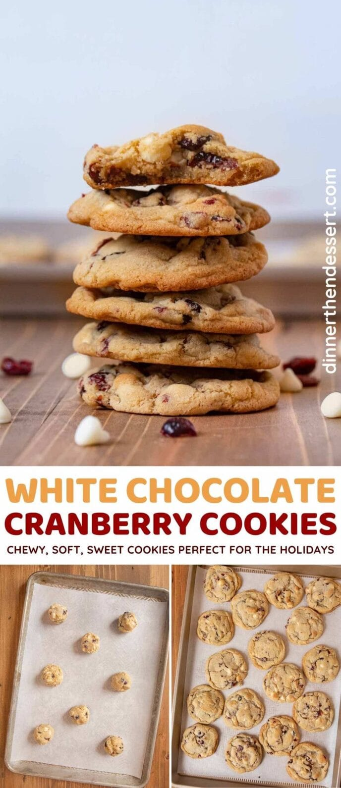 White Chocolate Cranberry Cookies collage