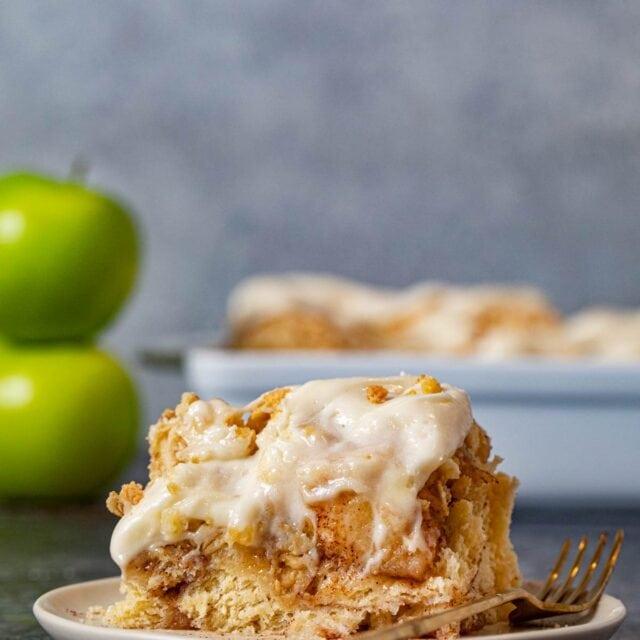 Apple Crisp Cinnamon Roll on plate