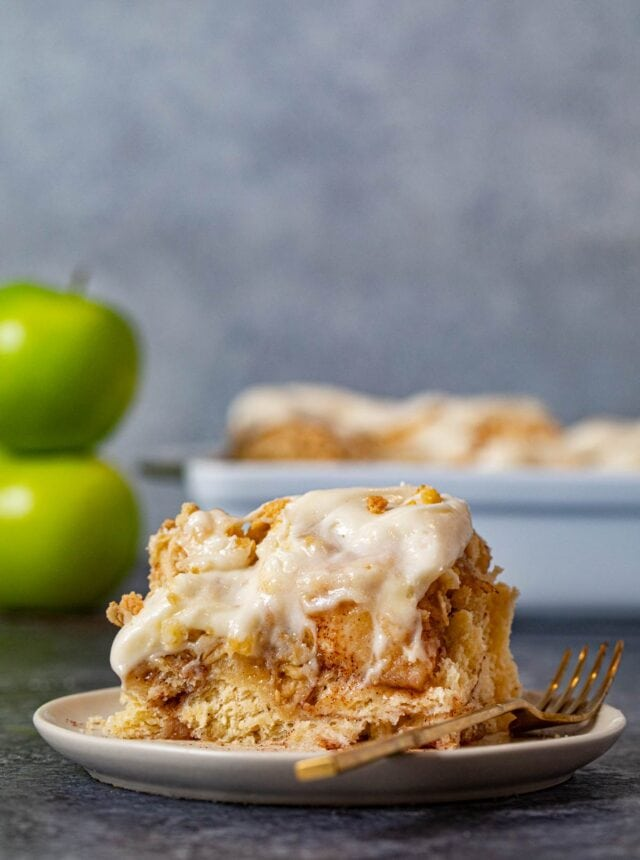 Apple Crisp Cinnamon Roll on plate