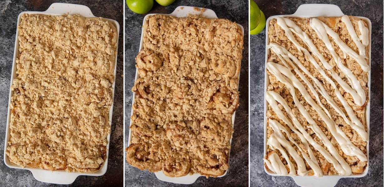 Apple Crisp Cinnamon Rolls collage of rolls before baking, after baking, and with icing