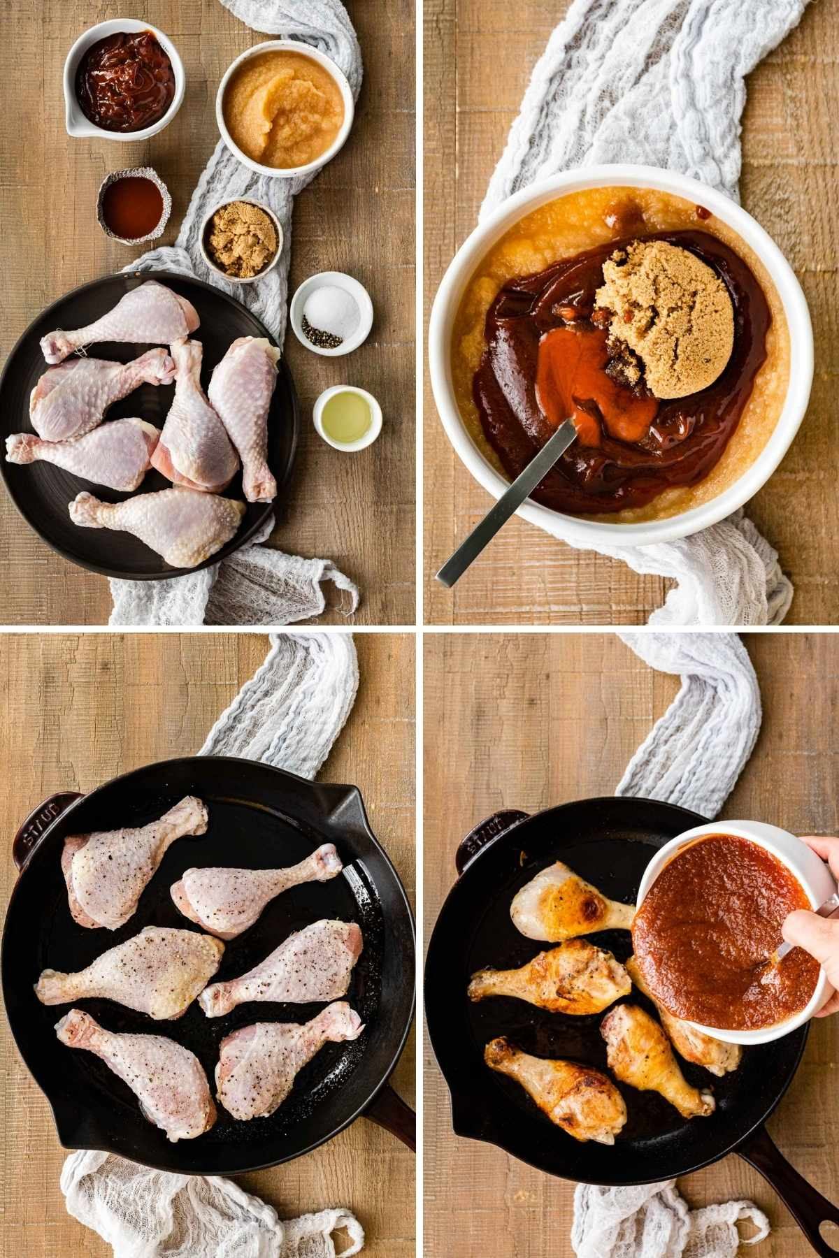 Collage of prep steps for Applesauce BBQ Chicken