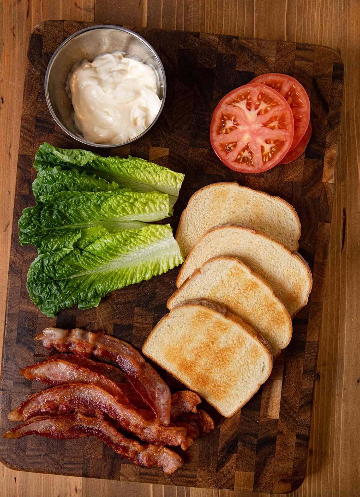 BLT Sandwich ingredients on cutting board