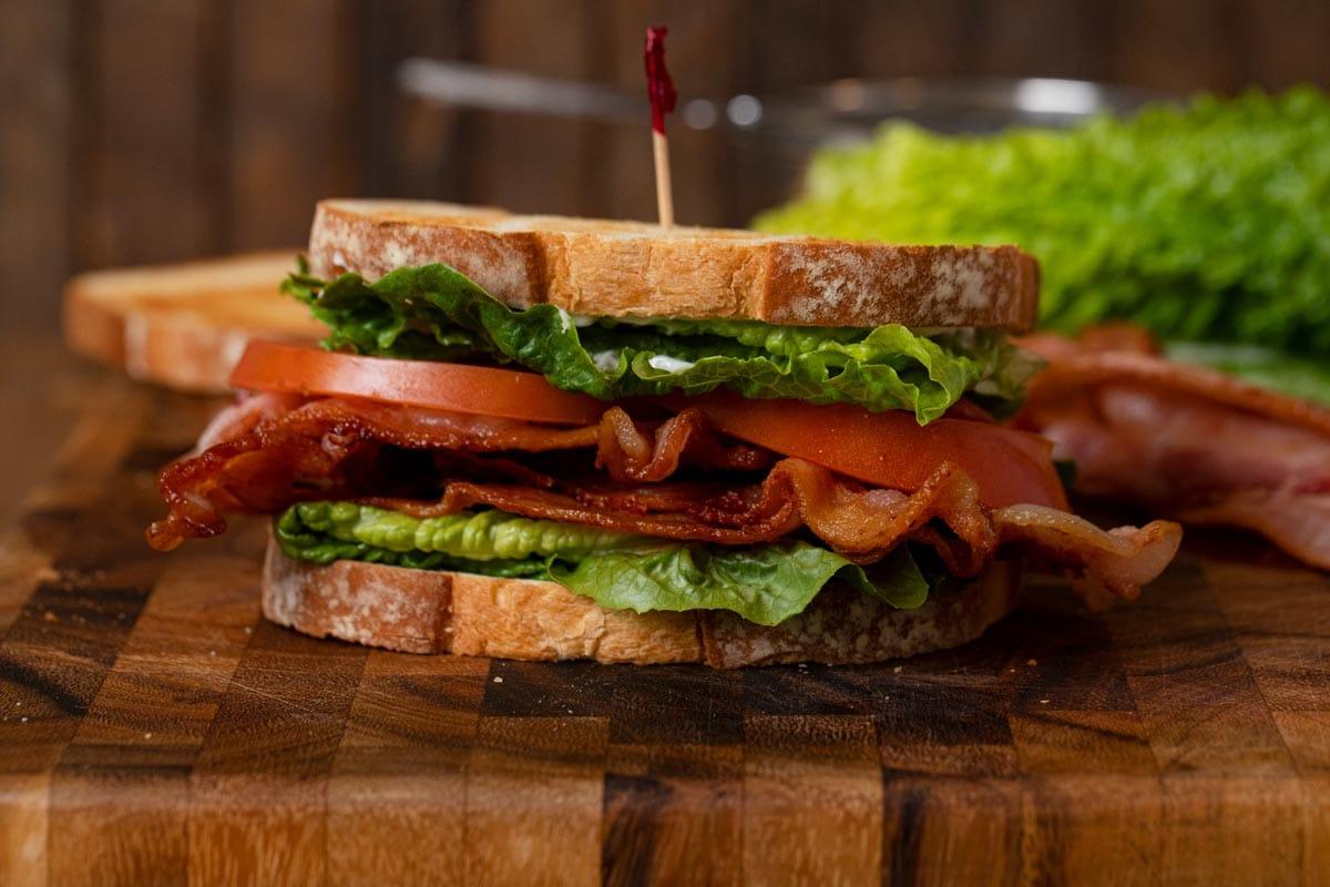 BLT Sandwich on cutting board