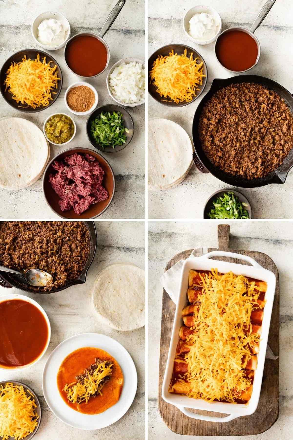 Beef Enchiladas collage of ingredient prep steps