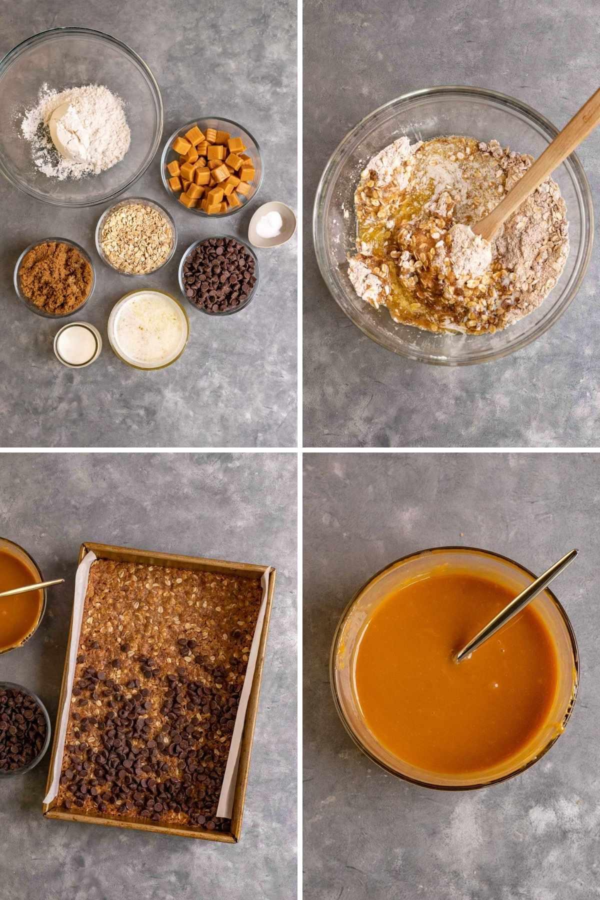 Caramel Chocolate Bars collage of prep steps