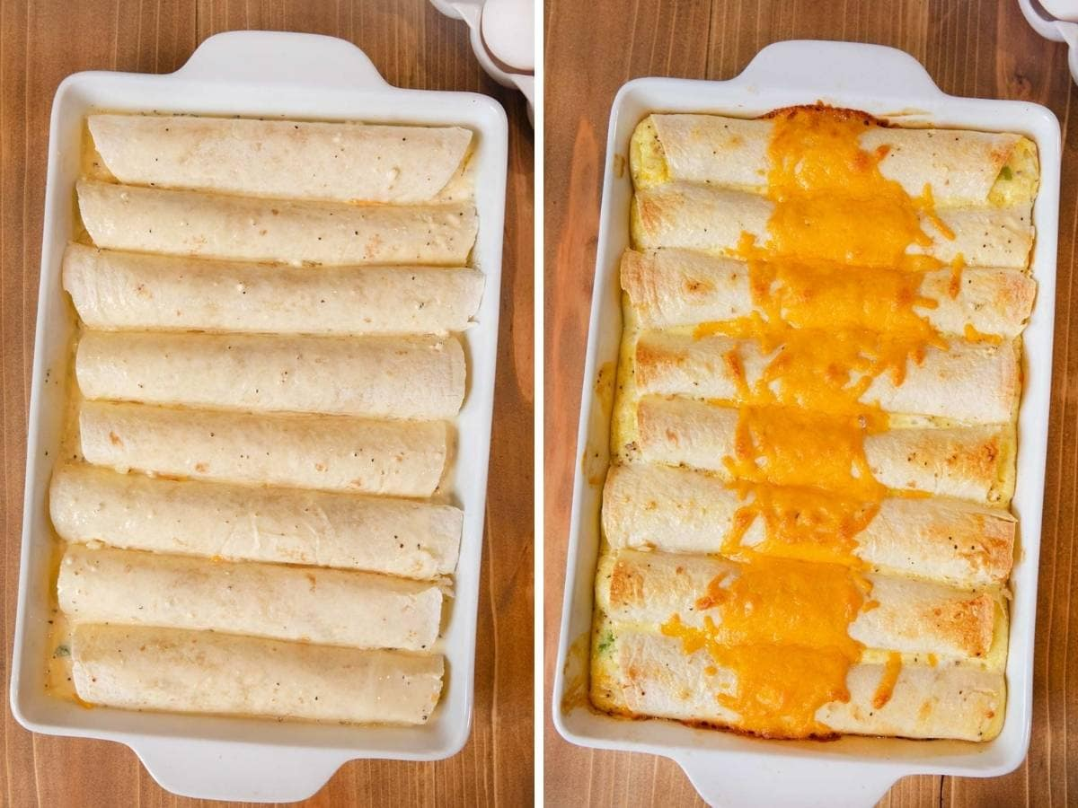 Cheesy Breakfast Enchiladas before and after baking