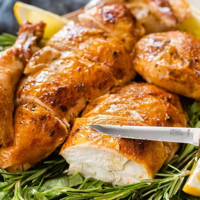 Chicken Brine roasted chicken pieces sliced