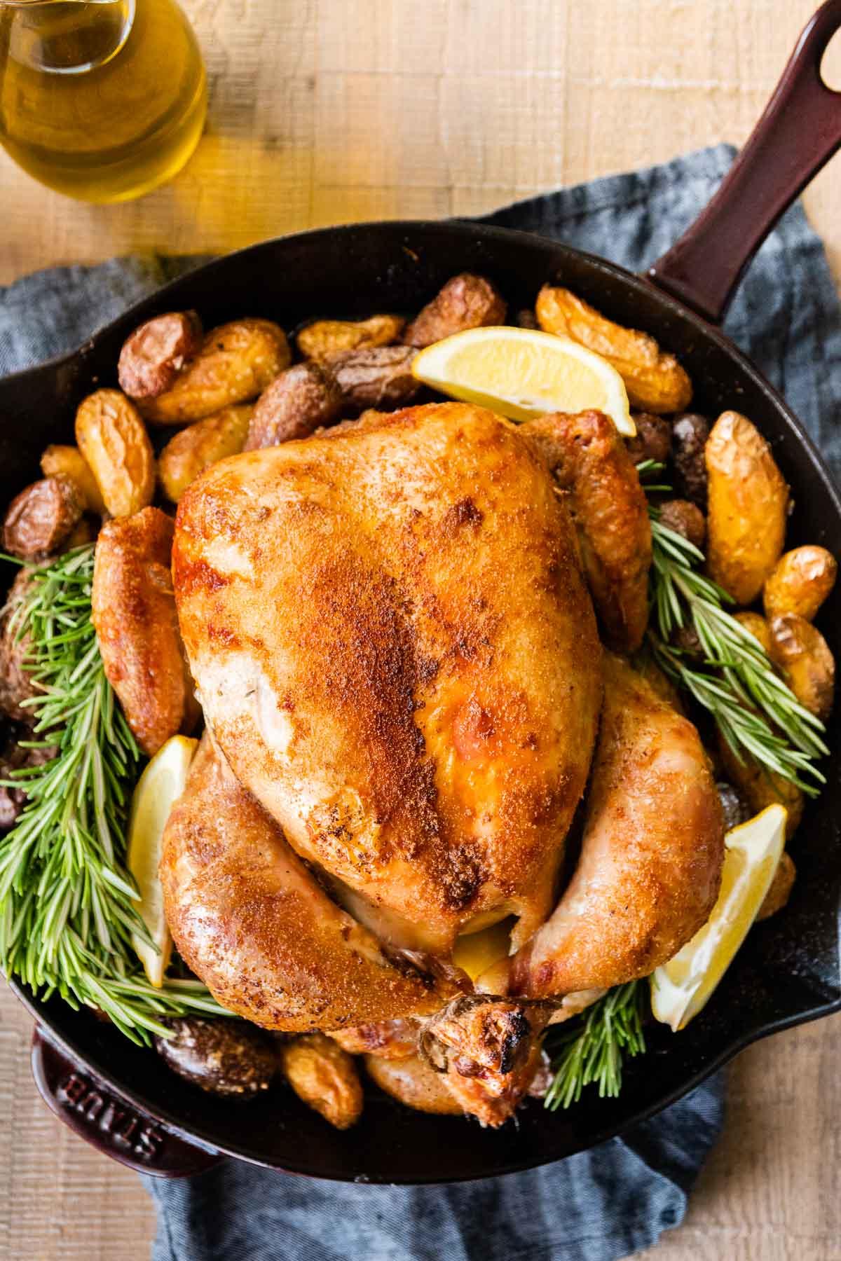 Chicken Brine roasted chicken with potatoes