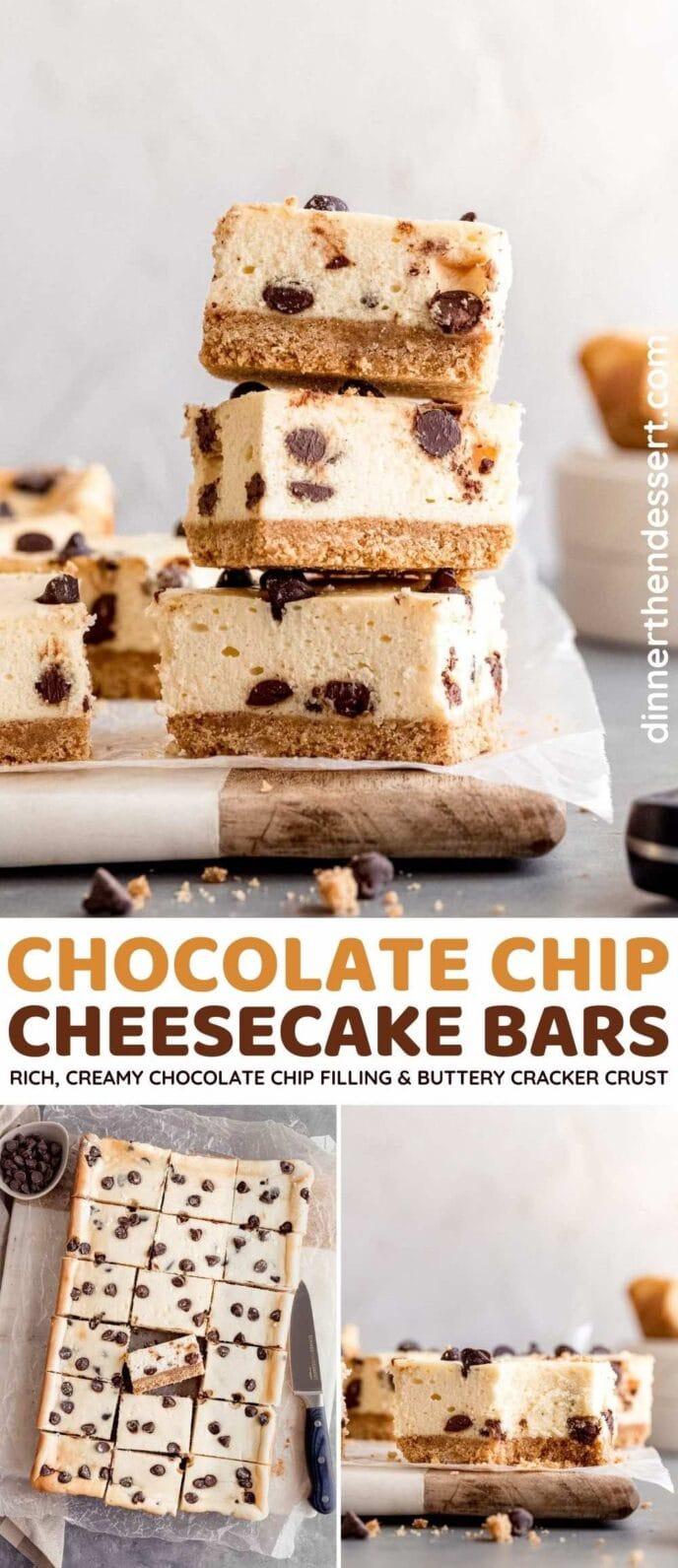 Chocolate Chip Cheesecake Bars collage