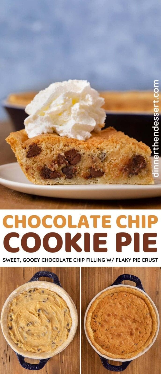 chocolate chip cookie pie collage