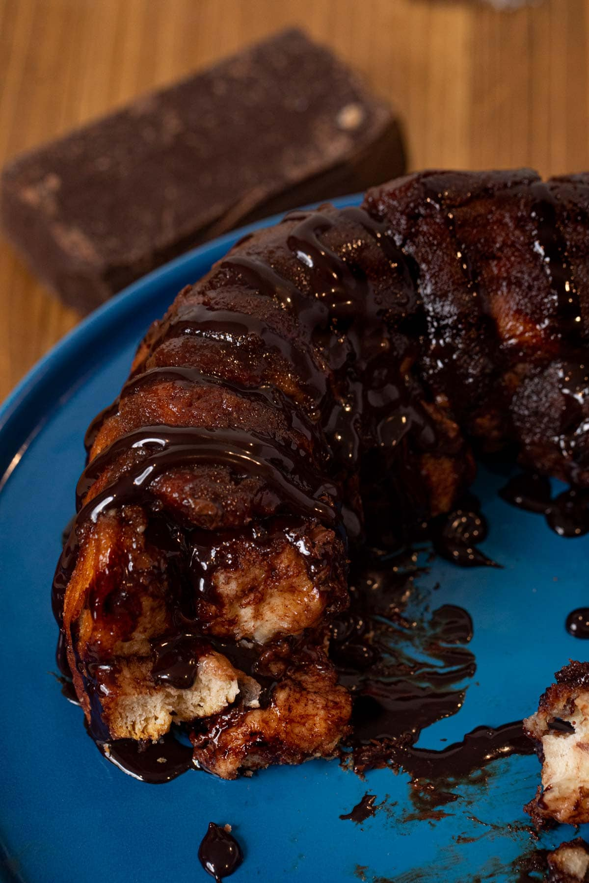 cross-section of Chocolate Monkey Bread on cake stand