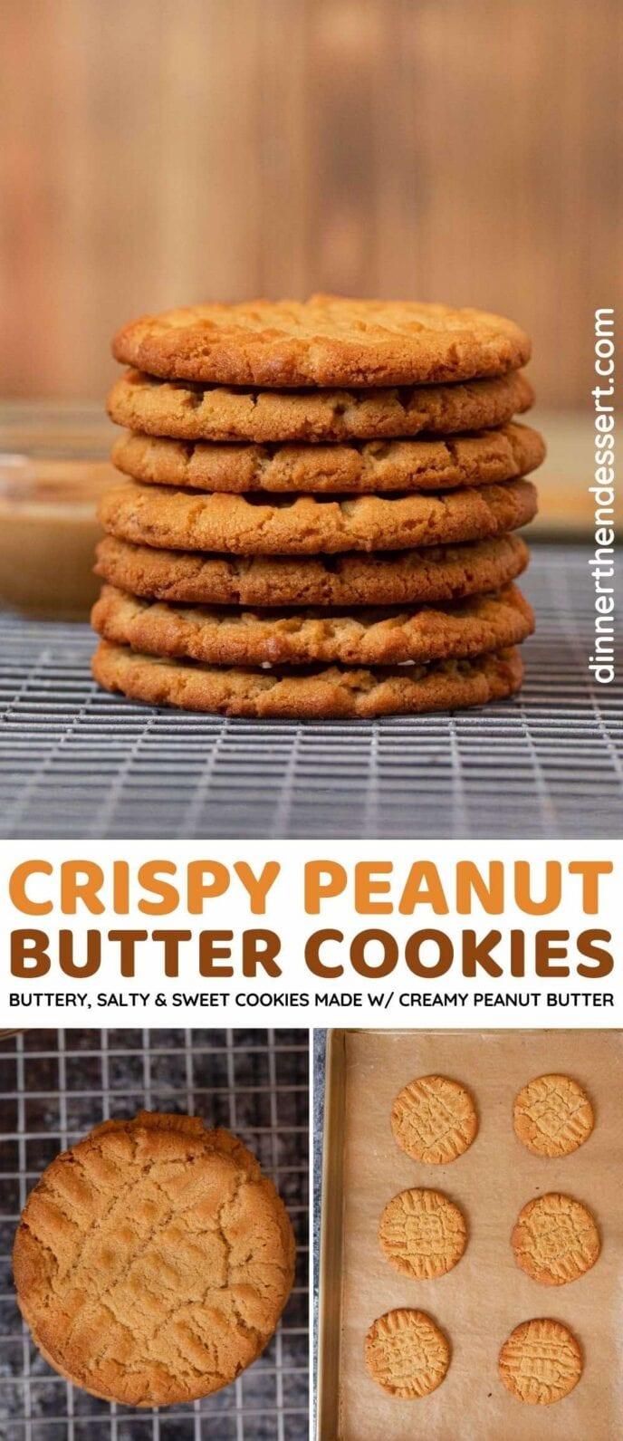Crispy peanut butter cookies collage