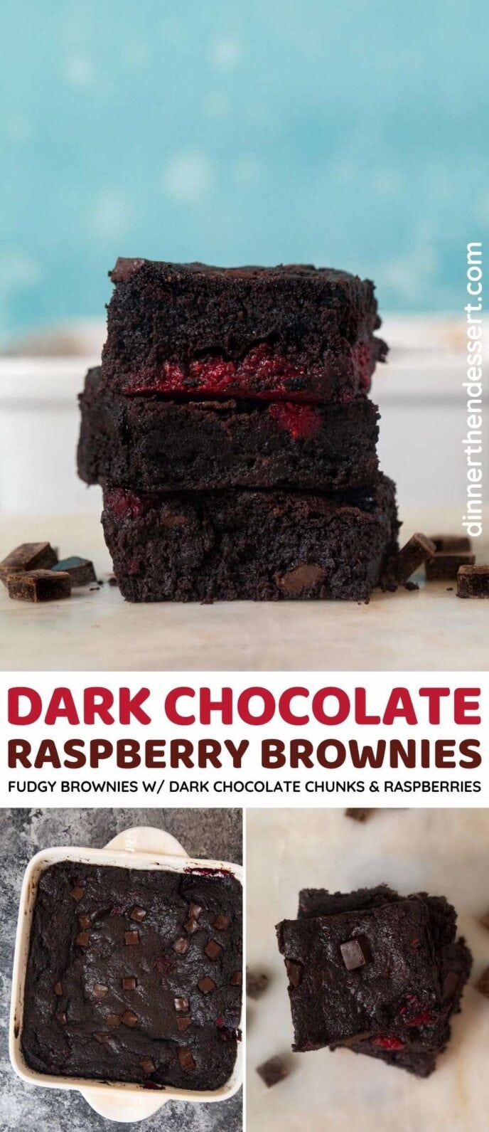 Dark Chocolate Raspberry Brownies collage