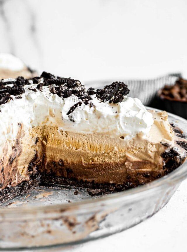 Frozen Mud Pie in pie dish with slice removed