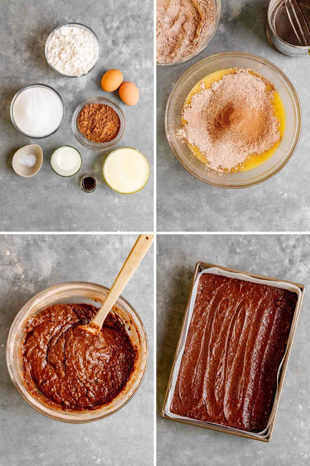 Fudgy Brownies Collage of prep steps