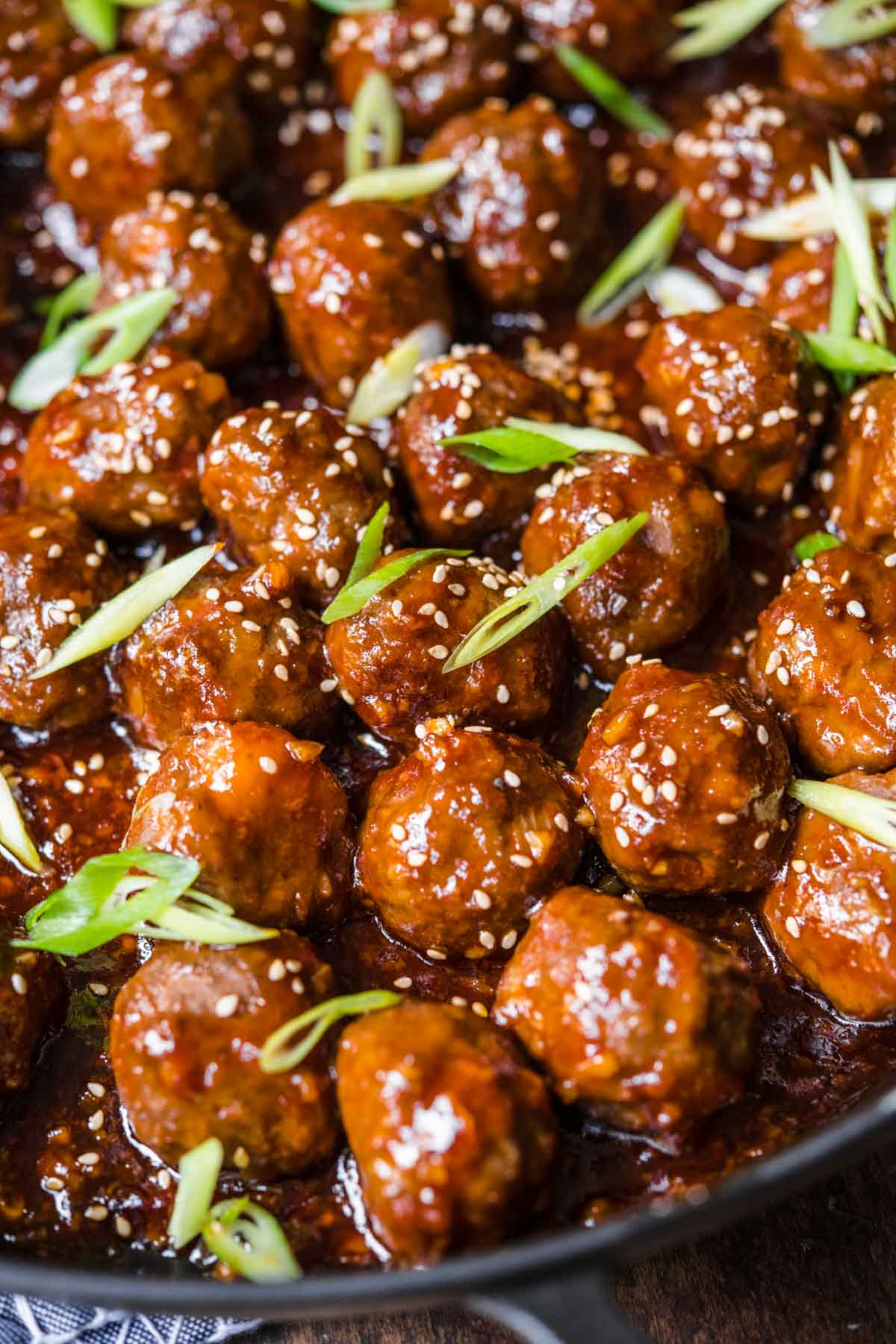 Honey Garlic Meatballs closeup