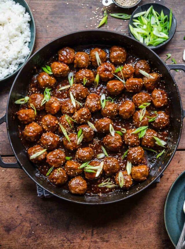 Honey Garlic Meatballs in skillet