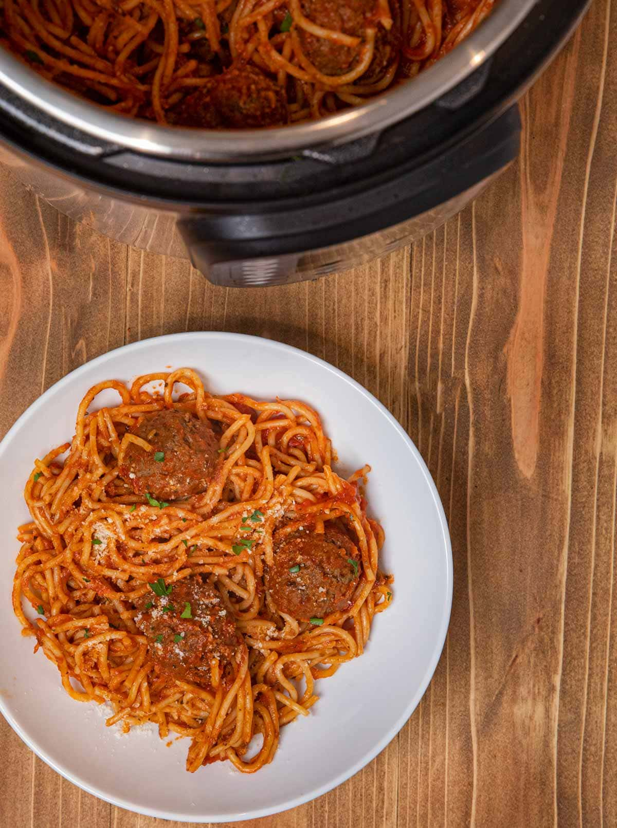 Instant Pot Spaghetti and Meatballs serving on plate