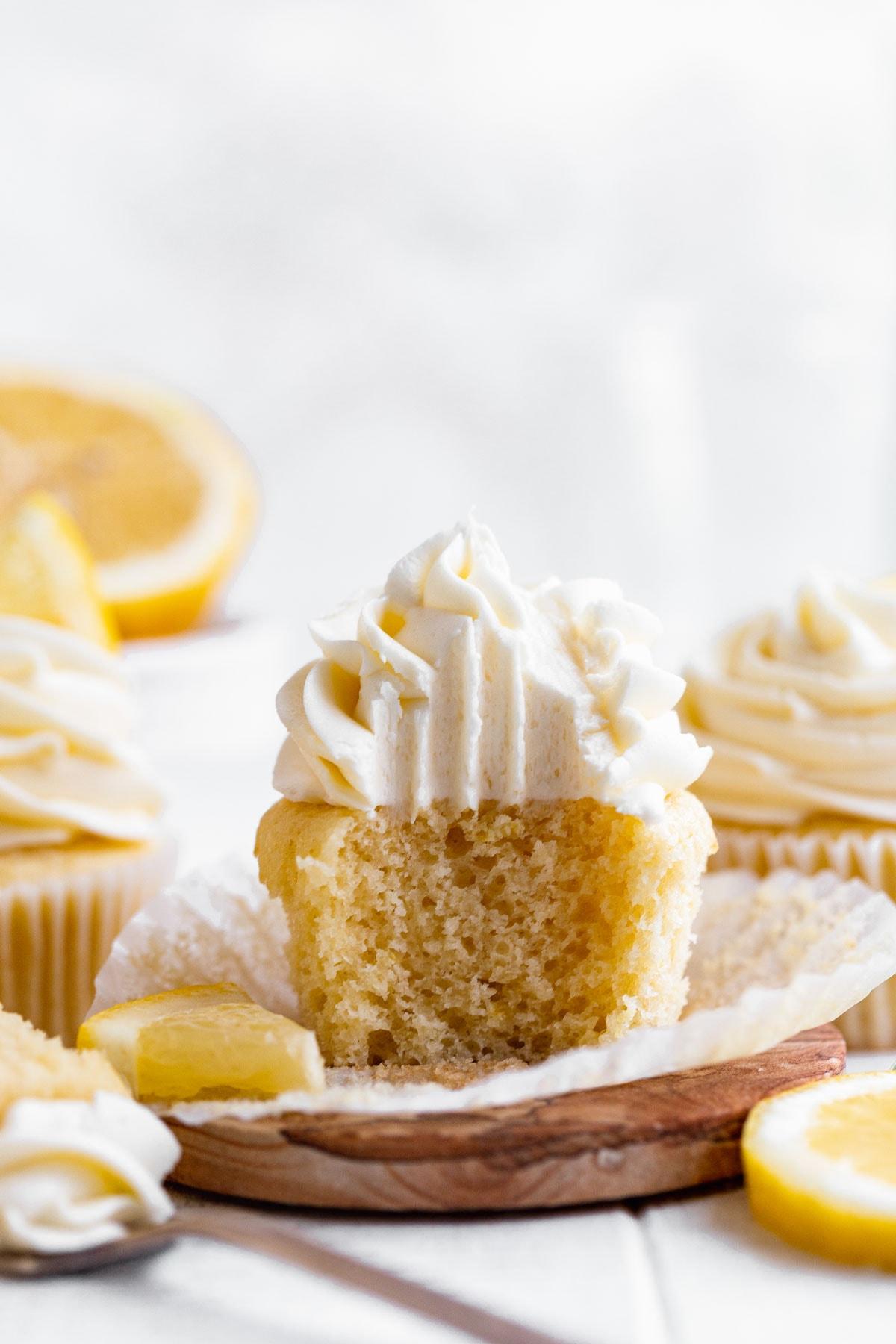 Lemon Cupcakes on cutting board